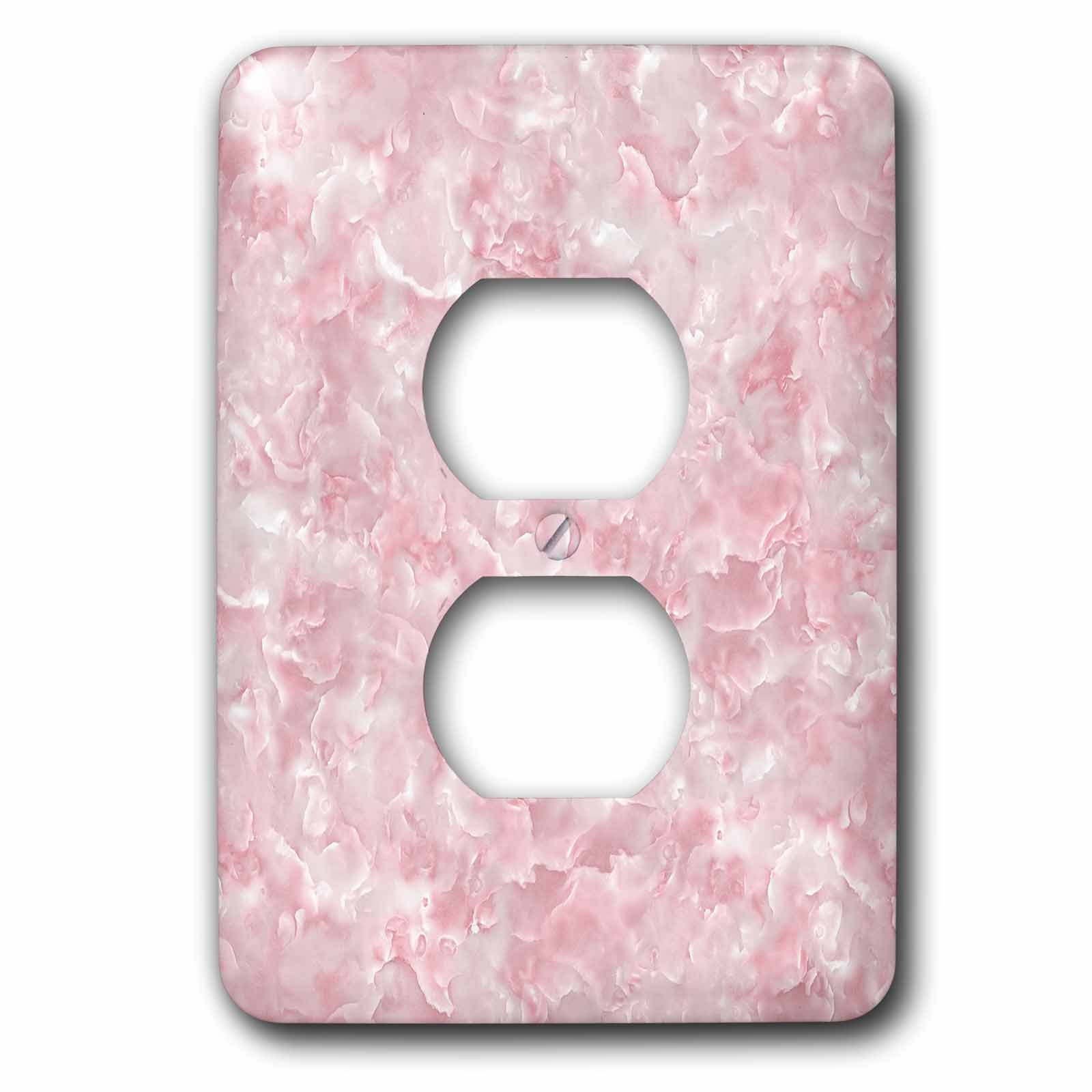 3dRose Uta Naumann Faux Glitter Pattern - Image of Trendy Luxury Rose Quartz Pink Gemstone Agate Geode - Light Switch Covers - 2 plug outlet cover (lsp_275121_6)