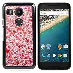 BullDog Case - FOR LG Google Nexus 5X - Hot Love Red White Pattern - Dise???¡¯???¡Ào para el caso de la cubierta de pl???¡¯????stico Chicas