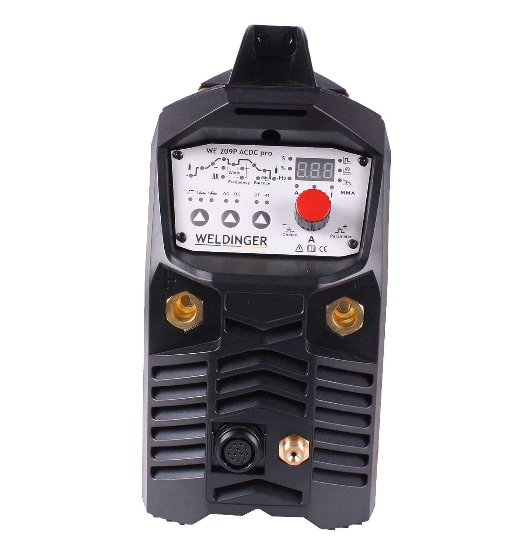 Inversor de soldadura TIG WE 209P CA/CC pro 200 A de Weldinger, soldadura de aluminio y botón de encendido HF (con función de electrodo): Amazon.es: ...