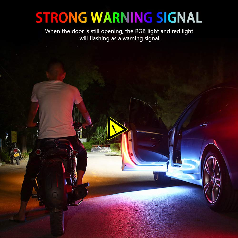 Safety Light Decoration 2 Pcs 48 Inch 144 LEDs Interior Car Door Light,Used for Lighting Strobe Lights for Anti rear-end Collision,Always White And Flashing Red ATREPIN Car Door LED Strip Lights