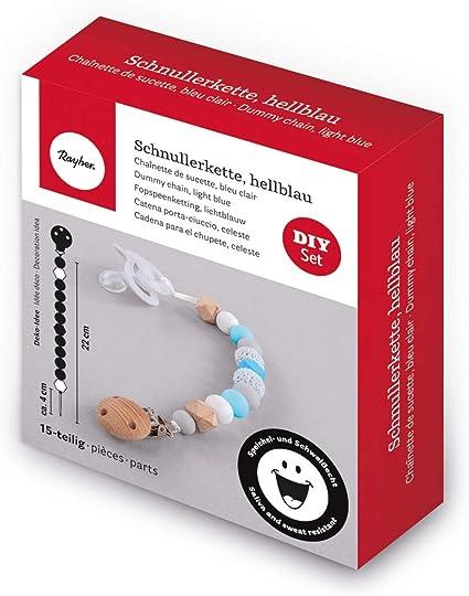 hellgrau Schnullerketten und Greiflinge f/ür Babys selber machen Schwei/ß- und speichelecht Box mit 61 Teilen inklusiv F/ädelschnur wei/ß hellblau Rayher 14860356 Silikonperlen sortiert