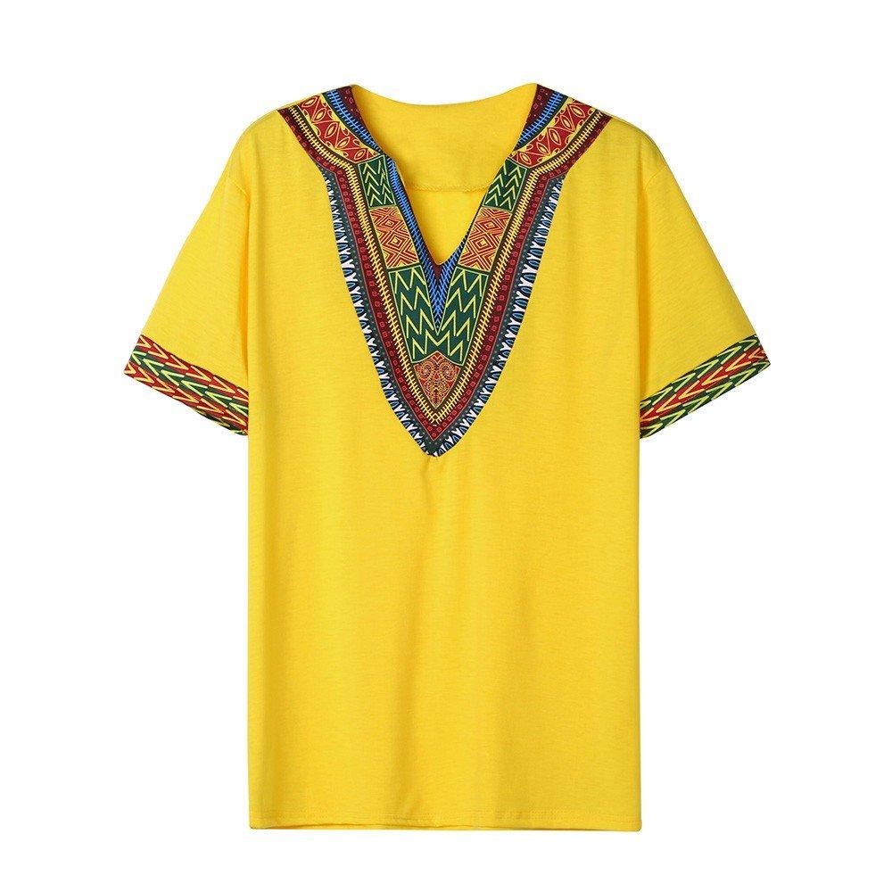 Winsummer Men Dashiki Shirts African Print Summer Short Sleeve Graphic Tops V Neck Fashion T-Shirt Tee Yellow