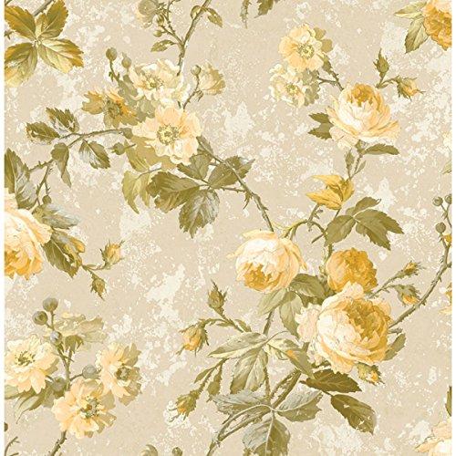 Wallpaper Designer Yellow Cream Rose Floral Vine on Beige Faux ()