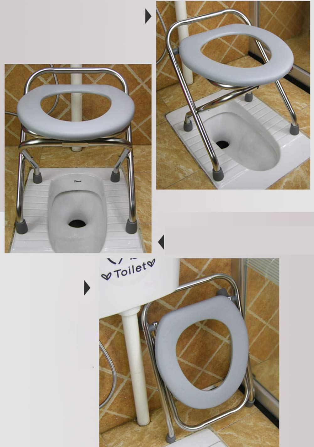Elderly Toilet Chair Folding Disabled Toilet Commode Chair Portable Mobile Skidproof Pregnant Woman Bathroom Chairs /& Stool Potty Chair 38Cm//32Cm Height,32Cm