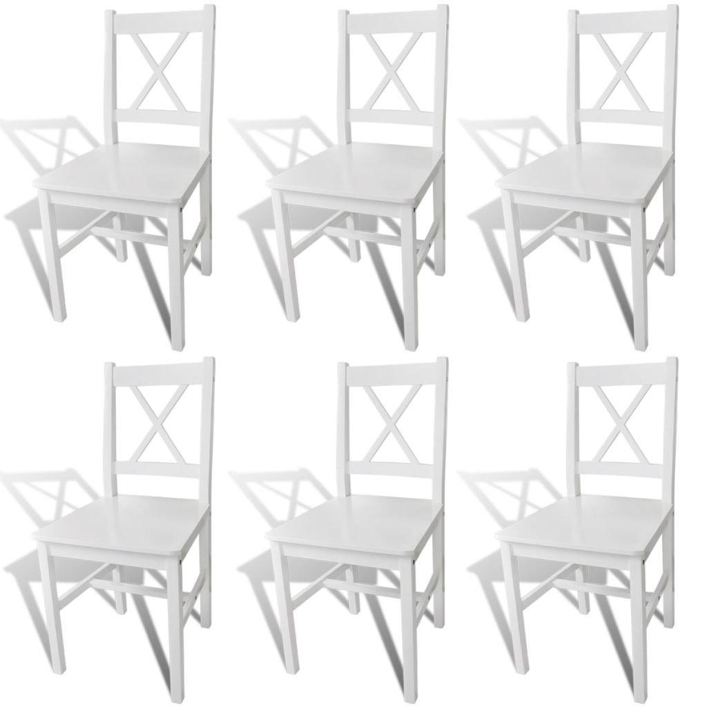 VidaXL 6x Esszimmerstuhl Kiefernholz Weiß Weiß Weiß Küchenstuhl Essstuhl Stuhlgruppe e2f813