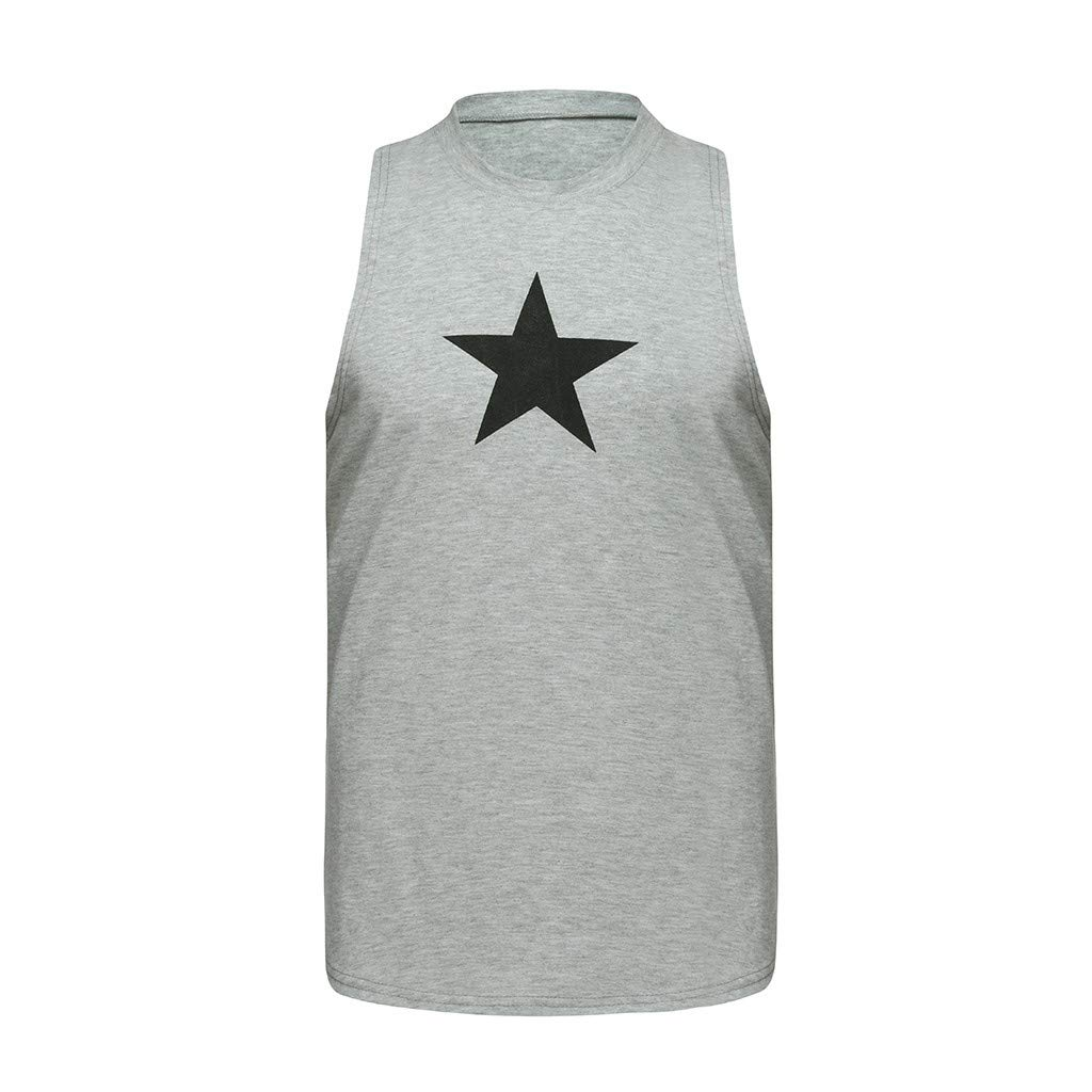 Mens Star Printed Muscle Gym Workout Stringer Tank Tops Bodybuilding Fitness T-Shirts