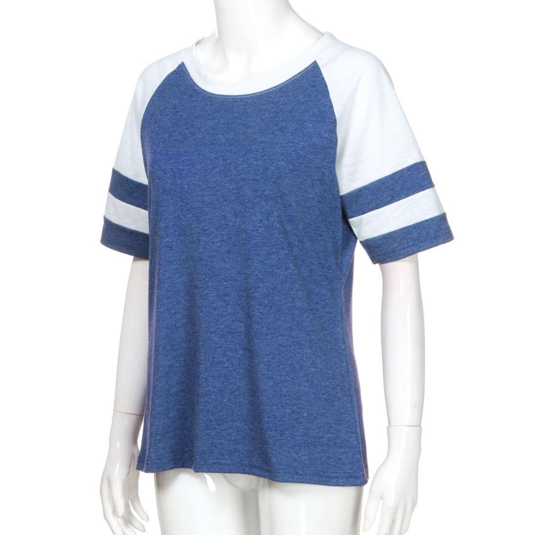 Syban T Shirt Fashion Women Ladies Short Sleeve Splice Blouse Tops Clothes (EU-36/CN-M, Blue) by Syban (Image #4)