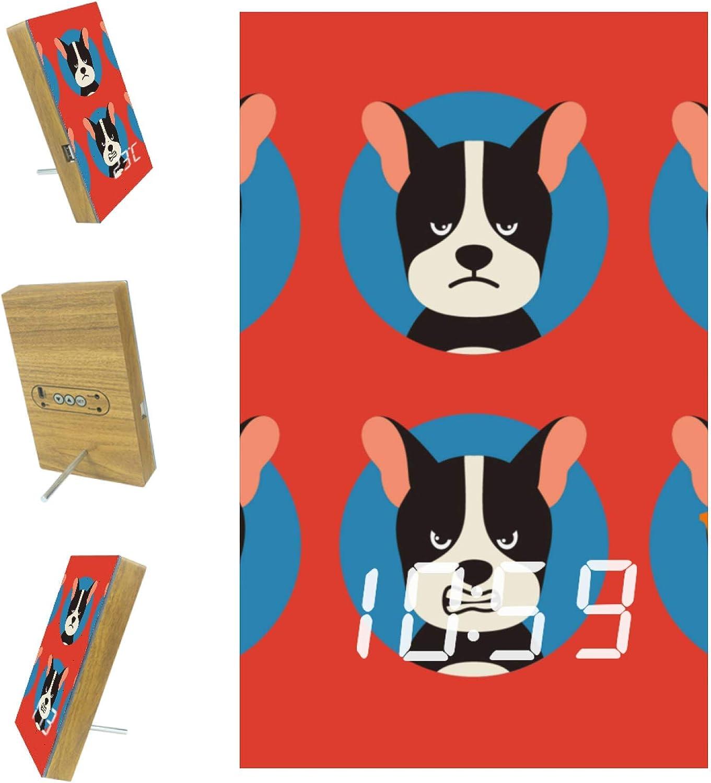 Indimization LED Clock Funny Cute Dog Puppy Digital Alarm Clock Digital Clock for Kid Senior Ultra-Clear Screen Wooden Snooze Alarm Clock for Bedroom Office 6.2x3.8x0.9 in