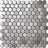 3D Hexagon Metal Sticker Honeycomb Stainless Steel Mosaic Popular Design,Kitchen Home Wall Backsplash Tiles -SA016-3 (11PCS 10.76Sq.ft)