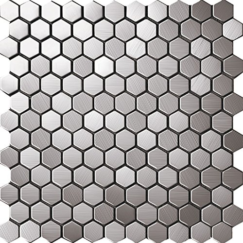 3D Hexagon Metal Sticker Honeycomb Stainless Steel Mosaic Popular Design,Kitchen Home Wall Backsplash Tiles -SA016-3 (11PCS 10.76Sq.ft)