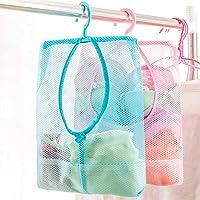 AJB Anii Hook Bathroom Hanging Mesh Organizer Women Underwear , Cosmetics , Socks Bag , 26X30 cm, Multicolour - Pack of 2