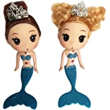Artswow Mermaid Doll Toy for Girls - Educational Toys Cake Ornaments Decorative Baby Doll for Girls Birthday Cake 1 Piece Only (Blue)