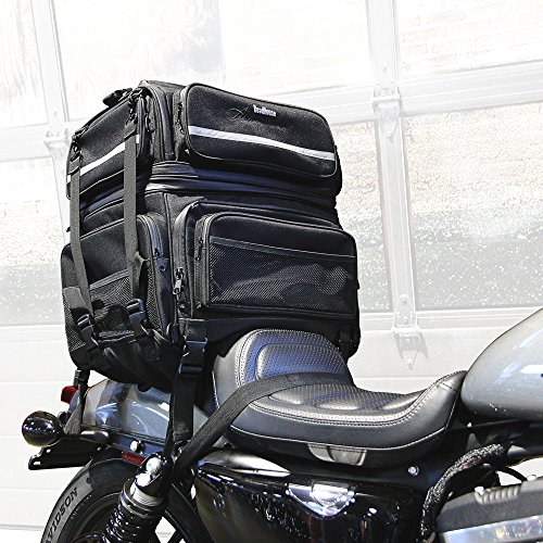 Travel Bag Sissy Bar - Roadhouse Americana Motorcycle Sissy Bar Travel Bag (with newly added bike rack/ backseat mount) - Full Size Expandable - Comes with Rain Cover