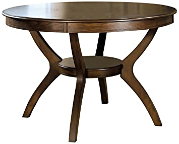 coaster home furnishings nelms classic modern transitional round dining table with storage shelf deep brown - Dining Table Round