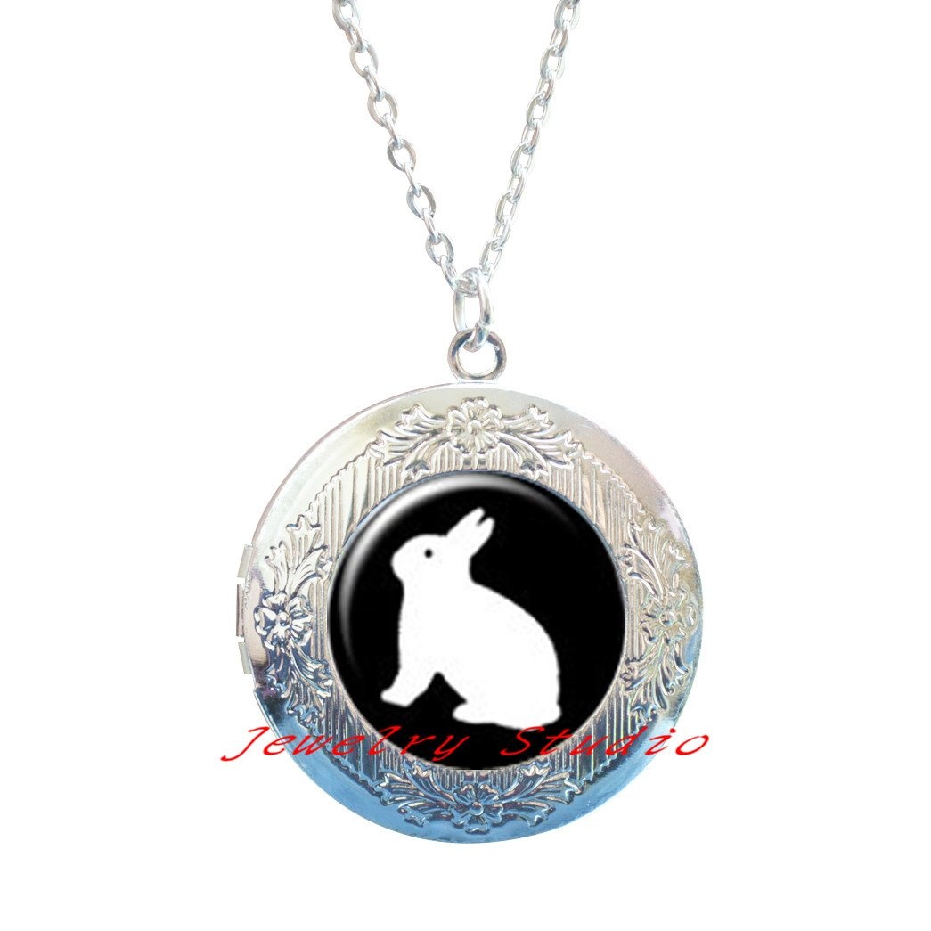 animal Silver Locket Necklace jewelry pet White Rabbit cute rabbit Locket Necklace clip,rabbit jewellery,bunny jewellery,rabbit lover gift, animal lover gift-HZ00314