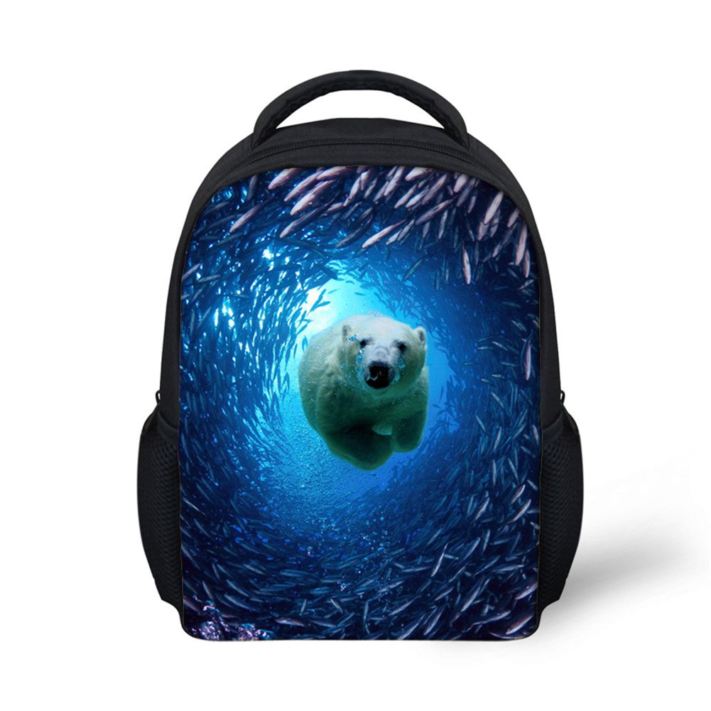 Toddler Travel Backpack Kids Small Pre School Bags Seabed World Polar Bear Print