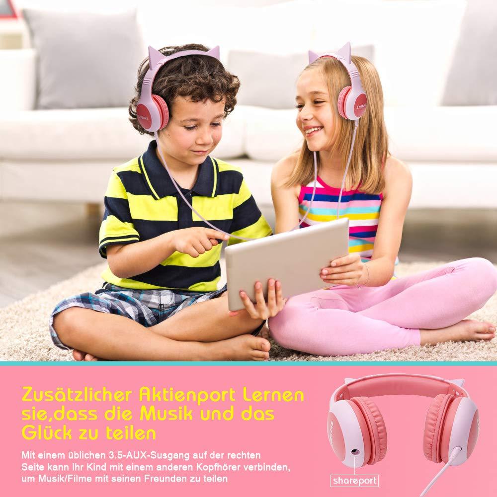 Lobkin Kinder-Musik-Kopfhörer mit Music-Sharing-Funktion im Katzen/Hasen-Look zum Gemeinsamen Musik-Hören
