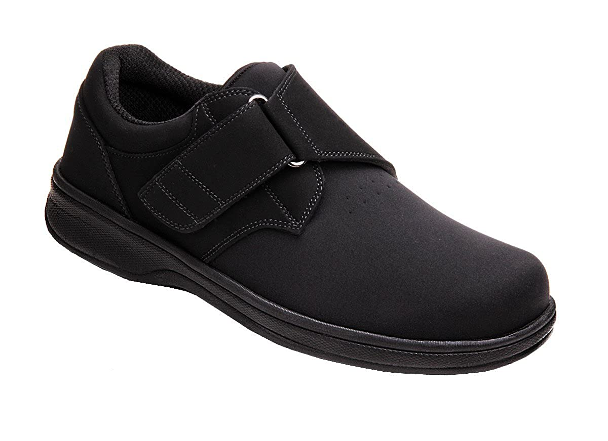Orthofeet 525 Men's Comfort Diabetic Extra Depth Stretch Shoe -7.0 X-Wide (4E) Black Velcro US Men