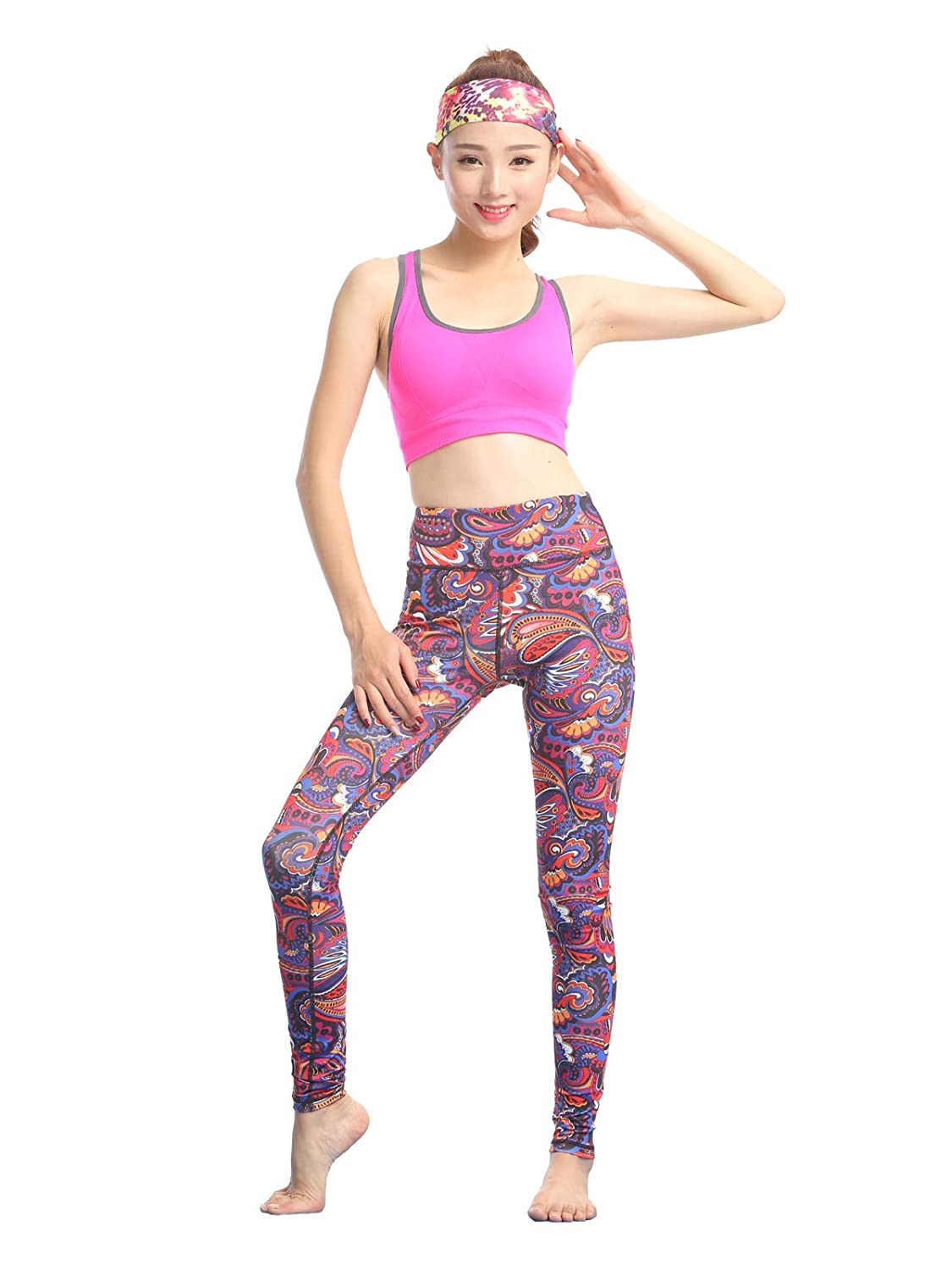 K Red Butterfly FINEMORE Women Printed Yoga Pants Stretchy Pilates Workout Sport Yoga Leggings