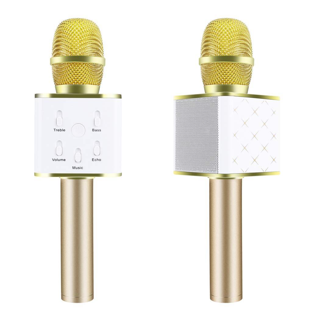 Firiodr Q7 Magic Karaoke Microphone Phone KTV Player Wireless Bluetooth MIC Speaker Record Music