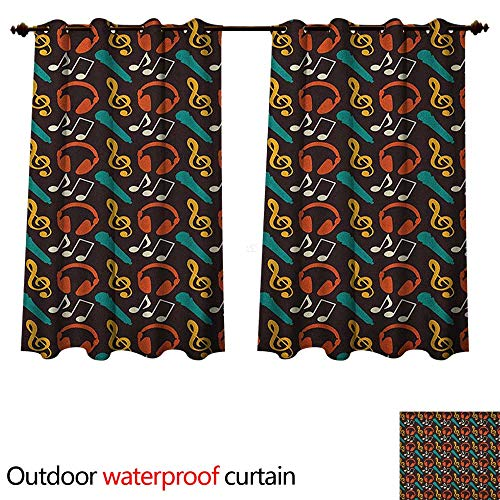 Anshesix Music Outdoor Curtain for Patio Notes and DJ Headphones Pop Art Style Retro Sound Melody Rhythm Pitch Beats Graphic W55 x L45(140cm x 115cm) ()