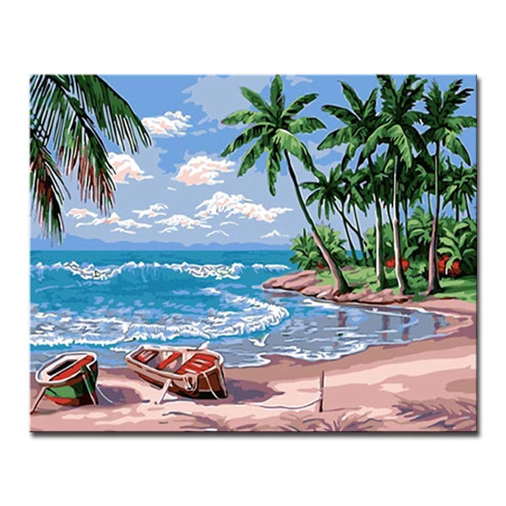 Dysdiy Bricolaje Pintura al óleo, Pintura por números Kits para Adultos Niños Pintura por número Kits Decoración para el hogar,Paisaje Abstracto En la Playa 16*20 Pulgadas