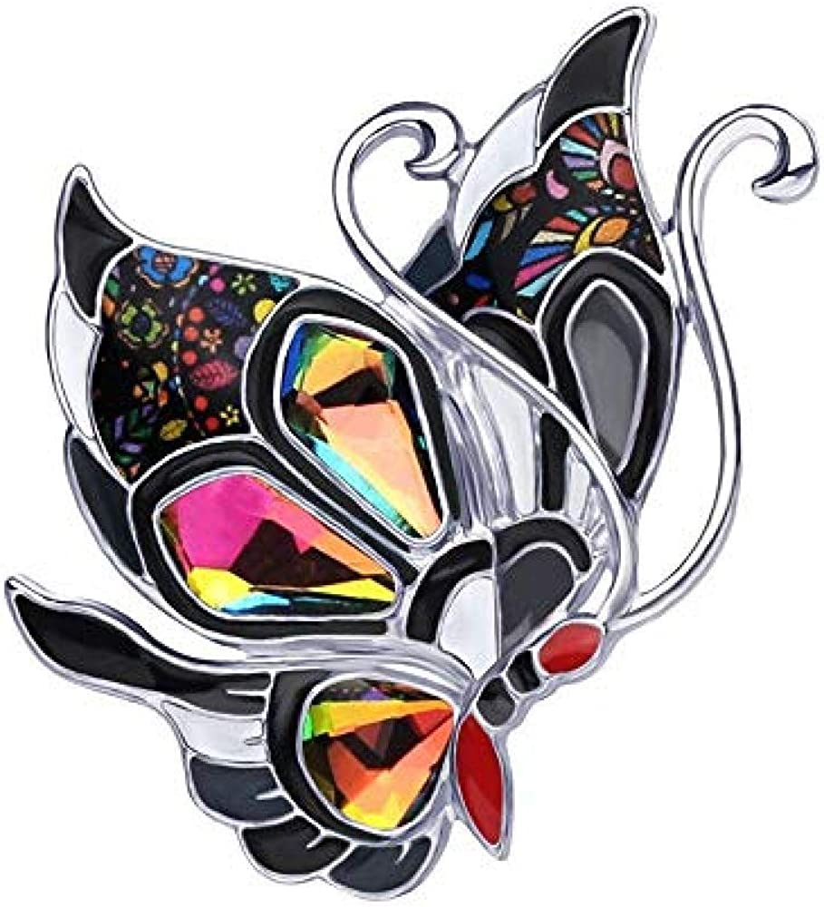 Rhinestone Fairy Butterfly Brooch Enamel Alloy Silk Scarf Buckle Coat Western Ornament Badge Christmas New Year Gift