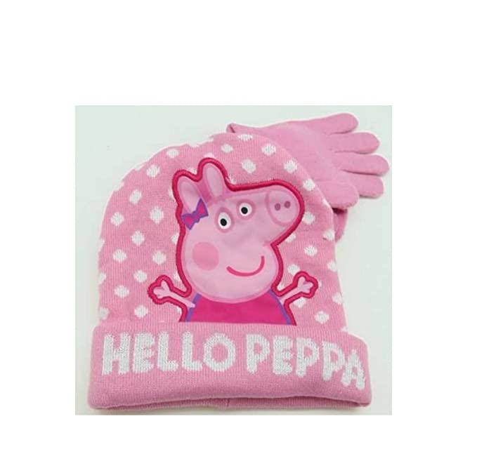 Amazon Peppa Pig Knit Hat Gloves Set Girls In Light Pink