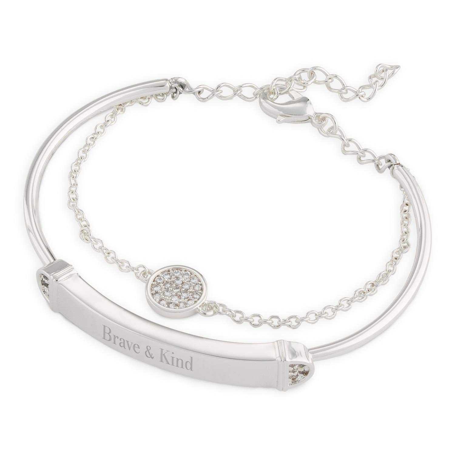 Things Remembered Personalized Silver Tone Double Strand Pave ID Bracelet with Engraving Included