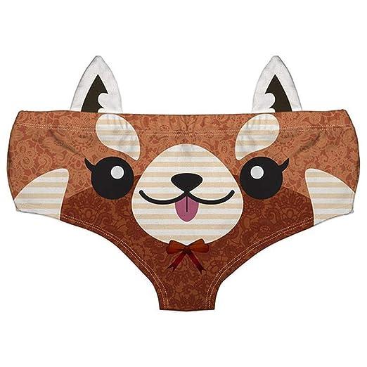 09ce9f4b9e69 Women Fashion Underwear Funny Naughty 3D Printed Cute Animal Knickers Briefs  with Ear (Waist Depth