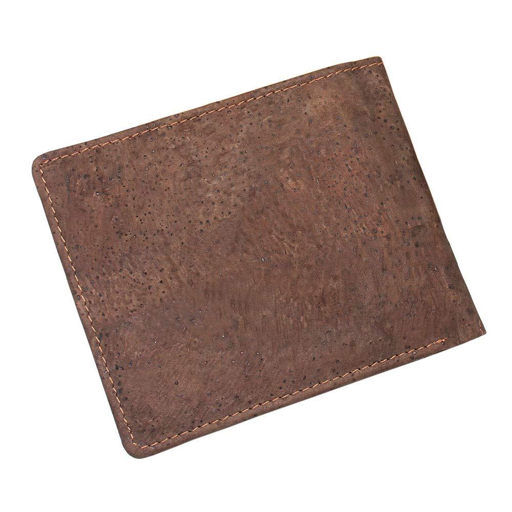 Taglia Unica BOSHIHO RFID Blocking Sughero in Slim Design Borsa Bifold Portafoglio con Tasca Portamonete Vegan in Eco Friendly Regalo per Uomini e Donne Marrone Dark Brown