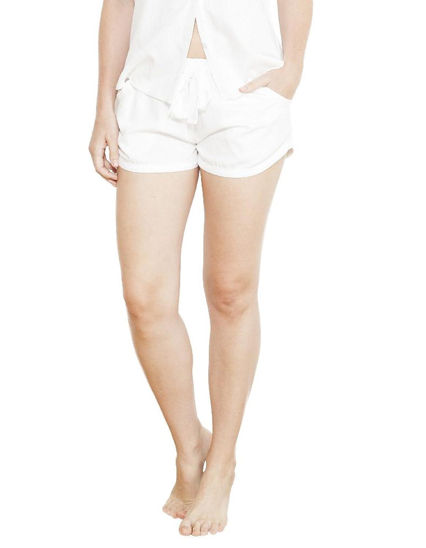 Cyberjammies 3725 Women's Georgia White Striped Satin Pajama Pyjama Short