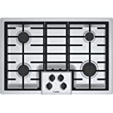 """Bosch NGM5055UC 500 Series 30"""" Gas Cooktop with Four Sealed Burners Automatic Re-ignition LP Conversion Kit 16 000 BTU Burn Capacity in Stainless"""