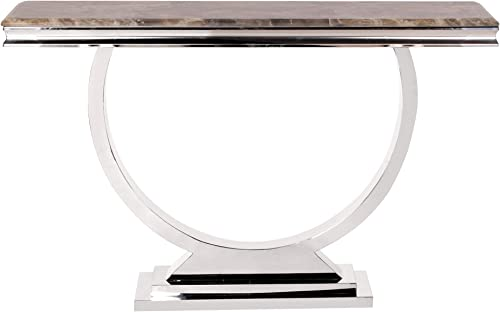 Howard Elliott Stainless Steel Stone Top Faux Console Table Brown