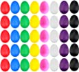 EVNEED 40 Pcs Plastic Egg Shakers Set Percussion Musical Egg Maracas Kids Toys with 8 Different Colors for Child Toys Music Learning DIY Painting,Easter Eggs