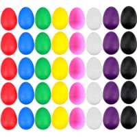 EVNEED 40 Pcs Plastic Egg Shakers Set Percussion Musical Egg Maracas Kids Toys with 8 Different Colors for Child Toys…