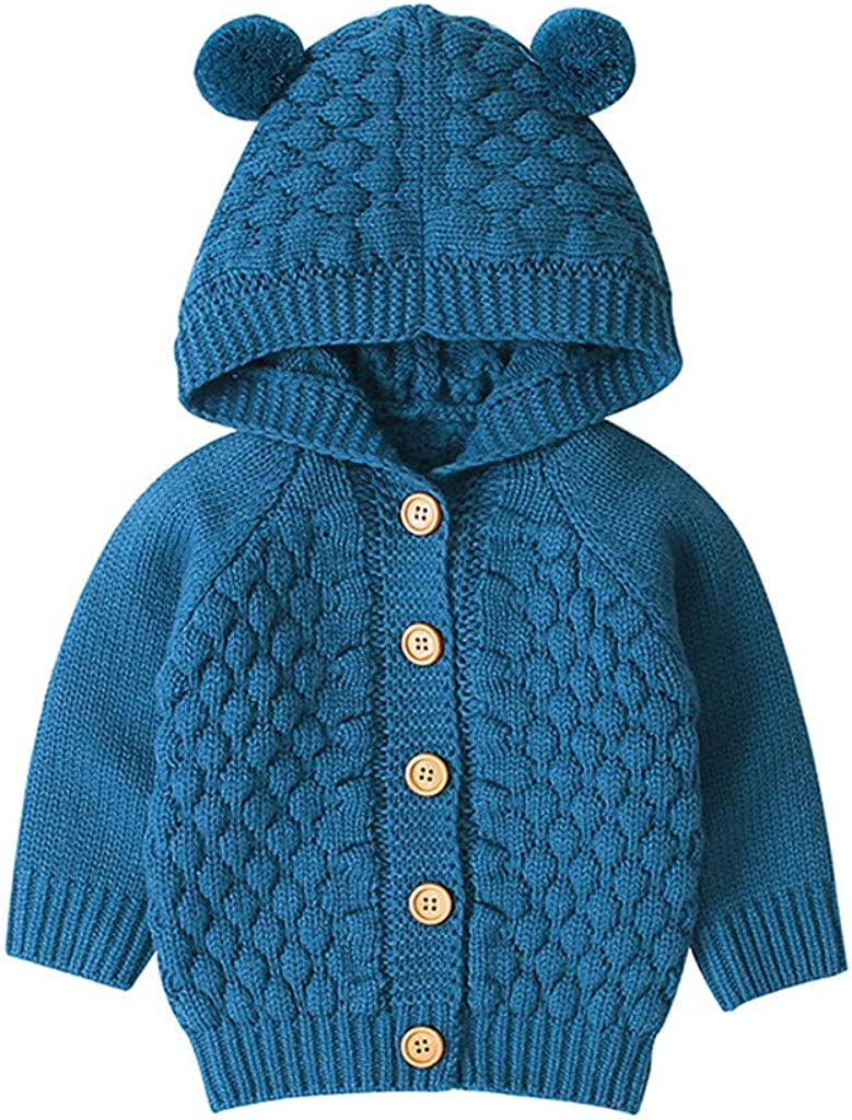 Tronet Baby Winter Coat Toddler Kids Baby Girls Winter Jacket Warm Coat Knit Outwear Hooded Sweater
