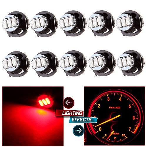 CCIYU 10Pack T4.2/T4 Red 3014SMD 3LED Neo Wedge A/C Climate Control Light Bulbs (Console Wedge)