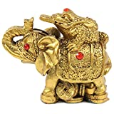 "Feng Shui 3"" Gold Money Frog On Elephant Figurine Wealth Figurine Gift & Home Decor"