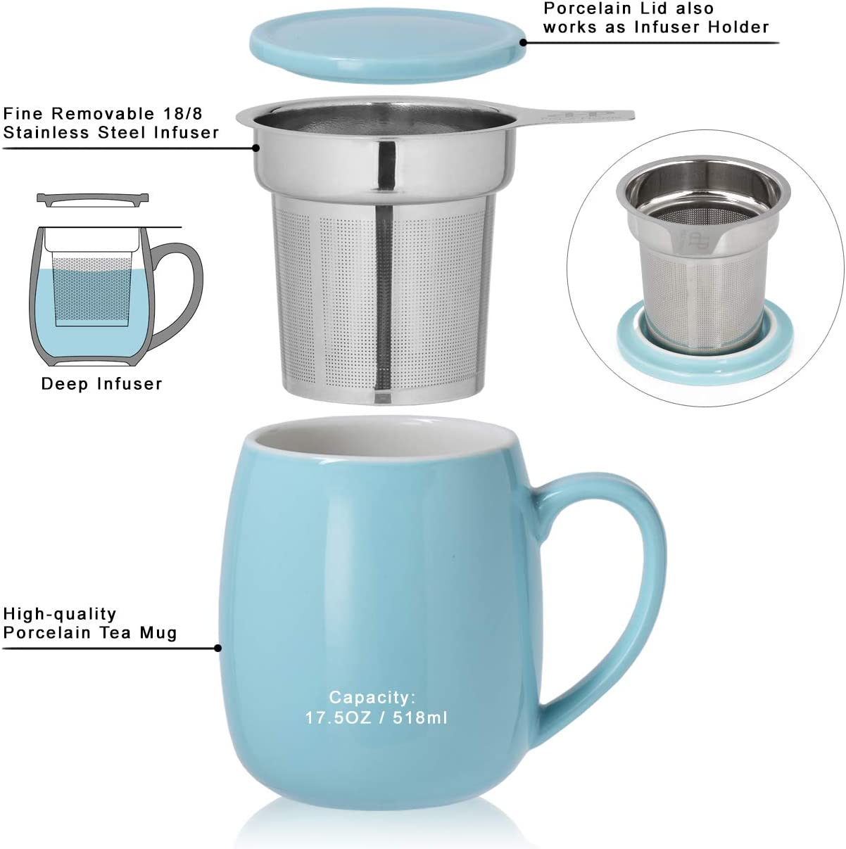 Peacehome Tea Cup Infuser Lid 17.5 OZ Large Ceramic Tea Mug with Strainer Navy