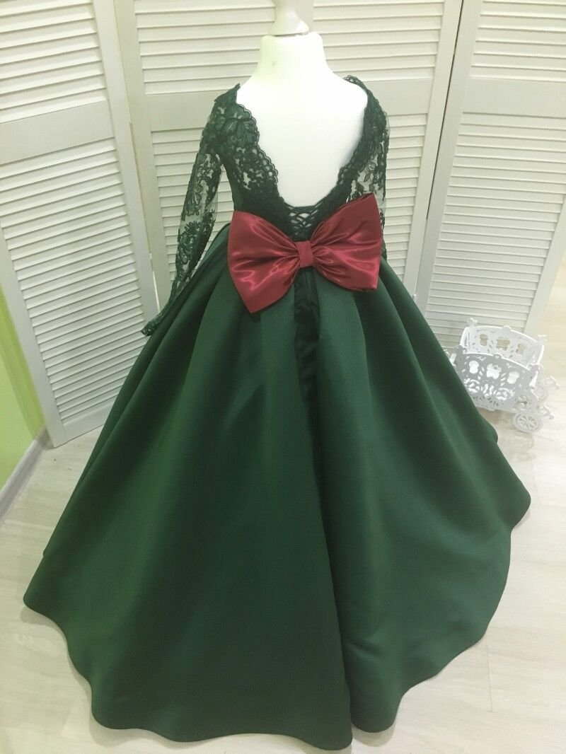 Banfvting Dark Green Girls Pageant Dress With Bow Lace Sleeves by Banfvting (Image #2)