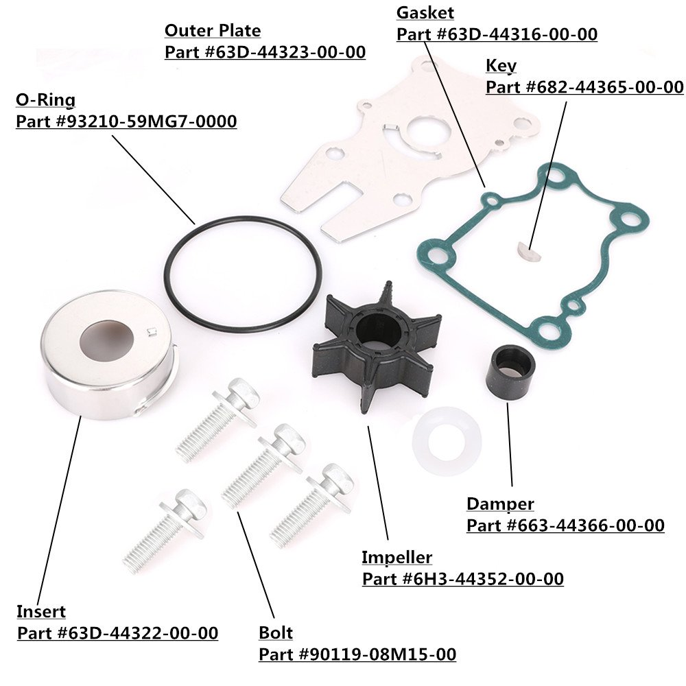 Amazon.com: KONDUONE New Marine Water Pump Impeller Repair Kit Outboard  Motor for Yamaha 40 50 60 HP Replaces # 63D-W0078-01-00 63D-W0078-00-00-3  months ...