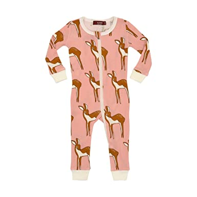 Amazon.com  MilkBarn Organic Cotton Zipper Pajama - Rose Doe  Clothing a235d6b2e
