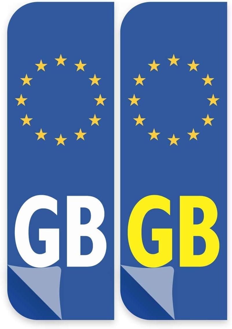 Vinyl Stickers European symbols decals Front and Back Euro GB Badge Car Number Plate Premium Laminated Vinyl