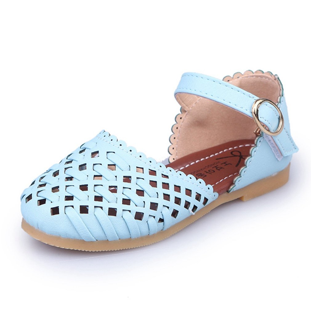 Toddler//Little Kid CYBLING Girls Soft Leather Closed-Toe Outdoor Cutout Casual Sandals