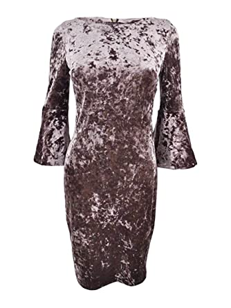 85446458 Image Unavailable. Image not available for. Color: Calvin Klein Women's  Petite Velvet Bell-Sleeve Dress ...