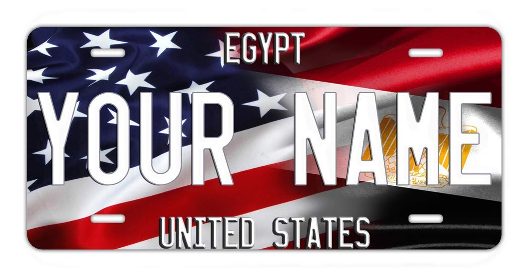 BRGiftShop Personalize Your Own Mixed USA and Egypt Flag Car Vehicle 6x12 License Plate Auto Tag