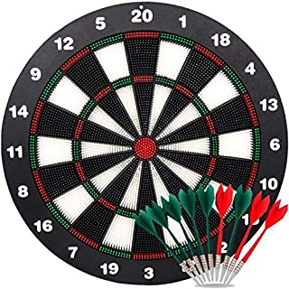 Ylovetoys Dart Board Soft Tip Safety Kids Dart Board Set Boys Toys Gifts, 16.4 inch Rubber Dartboard with 9 Soft Tip Safe Darts Great Game for Office and Family Leisure Sport
