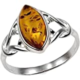Amber Sterling Silver Celtic Small Thin Marquise Shape Ring