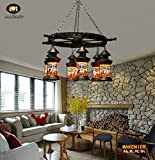 Makenier Retro Industrial Vintage Tiffany Style Stained Glass 6-light Dragonfly Baron Lantern Living Room Dining Room Study Bedroom Bar Pendant Lamp - with Rudder Hanger